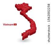 vietnam 3d flag map  and vector ...   Shutterstock .eps vector #1562002258