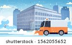 snow plow truck cleaning city... | Shutterstock .eps vector #1562055652