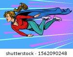 woman superhero flies. female... | Shutterstock .eps vector #1562090248
