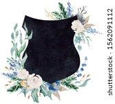 watercolor crest winter floral... | Shutterstock . vector #1562091112