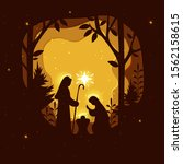 birth of christ. traditional... | Shutterstock .eps vector #1562158615