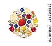 granola round design. engraved... | Shutterstock .eps vector #1562168812