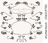 floral elements with leaves and ...   Shutterstock .eps vector #156219782