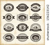 vintage organic farming stamps... | Shutterstock .eps vector #156223142