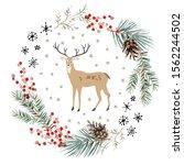 christmas wreath with deer... | Shutterstock .eps vector #1562244502