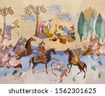Medieval miniature. Mughal art. Persian frescoes. Travel of heroes. Ancient civilization murals. Ottoman Empire. Horsemen and oasis. Fairy tales and legends of the Middle East