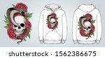 skull  cobra snake and flowers... | Shutterstock .eps vector #1562386675
