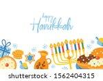 jewish holiday hanukkah cute... | Shutterstock .eps vector #1562404315