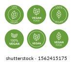 set flat vegan icon on white... | Shutterstock .eps vector #1562415175