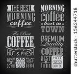 retro typography  coffee shop ... | Shutterstock .eps vector #156244718
