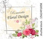 the rose elegant card. doodle.  ... | Shutterstock .eps vector #1562491858