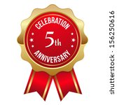 red gold five year anniversary... | Shutterstock .eps vector #156250616