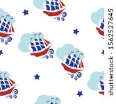 seamless pattern with sailboats ...   Shutterstock .eps vector #1562527645