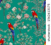 exotic chinoiserie wallpaper.... | Shutterstock .eps vector #1562613175