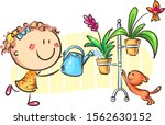 happy girl watering indoor... | Shutterstock .eps vector #1562630152