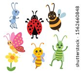 cute insects illustrations. set ... | Shutterstock .eps vector #1562660848