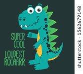 cartoon cute monster dinosaur ... | Shutterstock .eps vector #1562679148