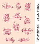 set of valentine themed hand...   Shutterstock .eps vector #1562769802