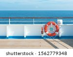 Ship Deck  Buoy And Blue Ocean. ...