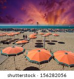 Orange Beach Umbrellas Near Th...
