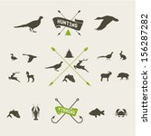 hunting vector icon set | Shutterstock .eps vector #156287282