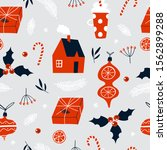 christmas seamless pattern with ... | Shutterstock .eps vector #1562899288
