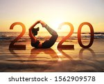 happy new year card 2020.... | Shutterstock . vector #1562909578