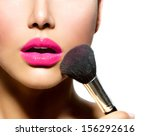 Постер, плакат: Makeup Make up Applying closeup