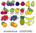 vector fruits and berries in... | Shutterstock .eps vector #156292982