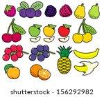 vector fruits and berries in... | Shutterstock .eps vector #156292982