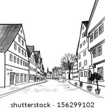 old town cityscape with street... | Shutterstock .eps vector #156299102