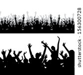 crowd silhouette | Shutterstock .eps vector #156300728