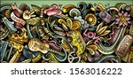 hippie hand drawn doodle banner.... | Shutterstock .eps vector #1563016222
