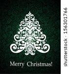 white christmas tree on vintage ... | Shutterstock .eps vector #156301766