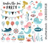 under the sea party elements... | Shutterstock .eps vector #1563033418