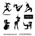 woman fitness set. illustration ... | Shutterstock . vector #156304826