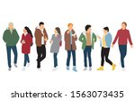 silhouettes of men and women... | Shutterstock .eps vector #1563073435