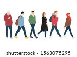 silhouettes of men and women... | Shutterstock .eps vector #1563075295