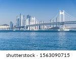 gwangan big bridge and marine... | Shutterstock . vector #1563090715