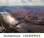 Aerial View Of Prague City Wit...