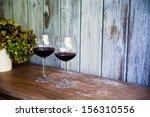 glass of wine. rustic vintage... | Shutterstock . vector #156310556