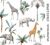 watercolor seamless patterns... | Shutterstock . vector #1563113908