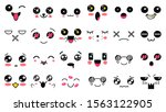 kawaii cute faces. manga style... | Shutterstock .eps vector #1563122905