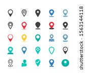 vector set of pin icons. map... | Shutterstock .eps vector #1563144118