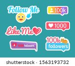 follow and like me stickers...   Shutterstock . vector #1563193732