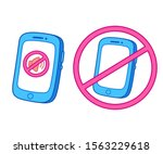 smartphone in silent mode and...   Shutterstock .eps vector #1563229618