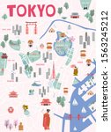 guide to tokyo. illustrated... | Shutterstock .eps vector #1563245212