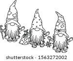 vector  cute gnomes cartoons ... | Shutterstock .eps vector #1563272002