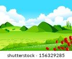 blue sky  green fields and... | Shutterstock .eps vector #156329285
