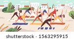 beach yoga class flat vector... | Shutterstock .eps vector #1563295915
